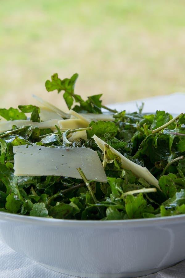 Verse raketsalade met parmezaanse kaasvlokken Concepten - gezonde voeding, het op dieet zijn, het verfrissen zich stock fotografie