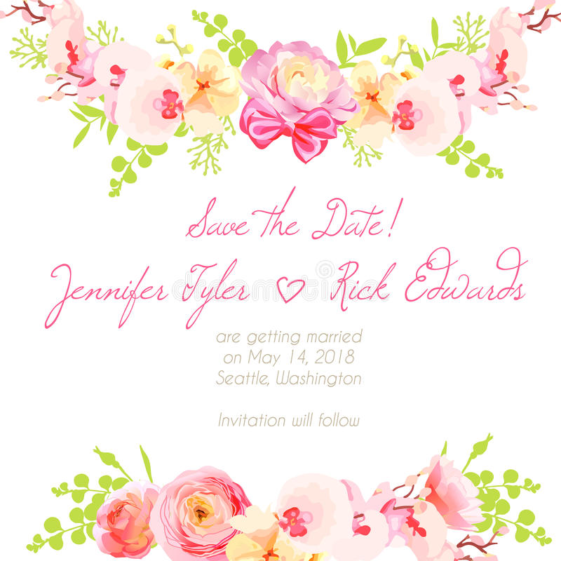 Verse ranunculus, orchidee en het roze kader van het rozen bloemenontwerp vect vector illustratie