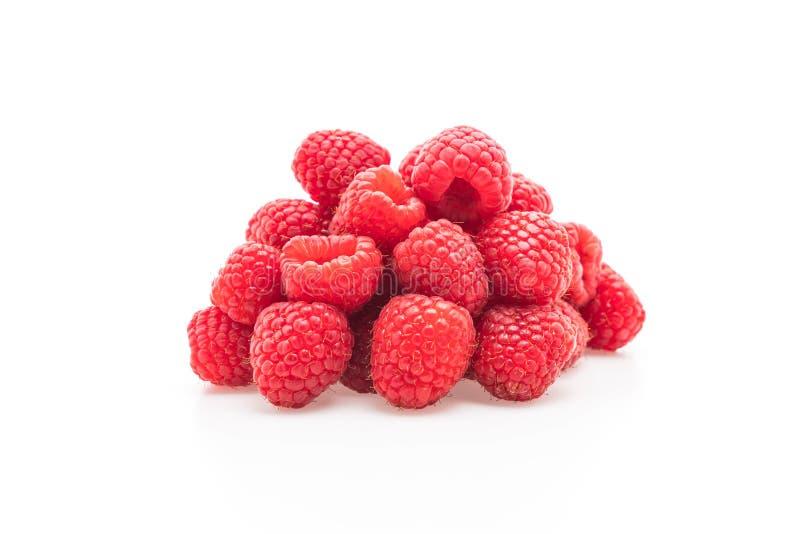 verse rasberry op wit stock afbeeldingen