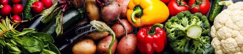 Verse rauwe groentenbanner stock foto's