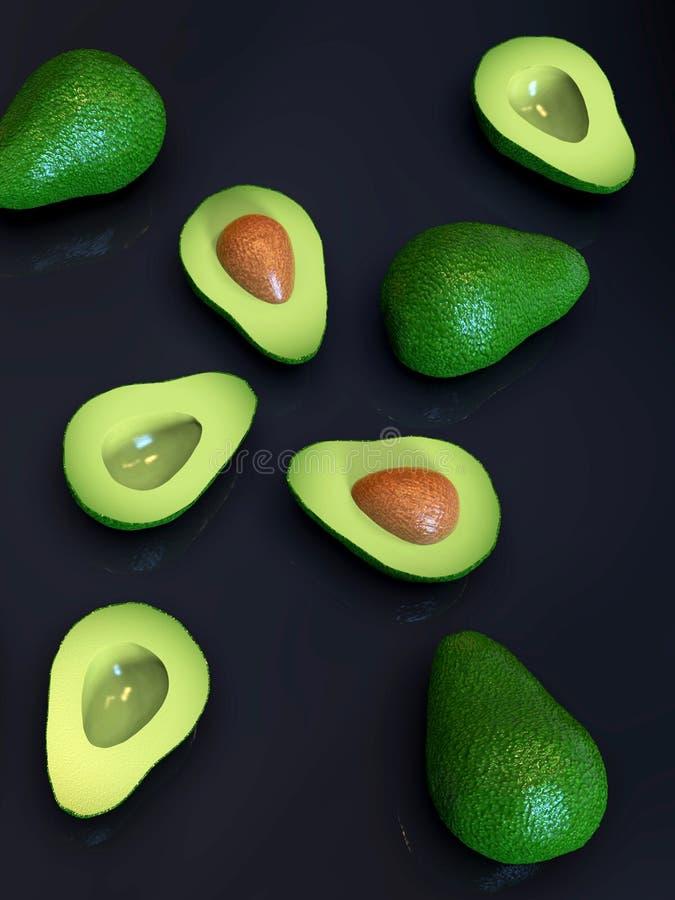 Verse rijpe groene avocadovruchten, geheel en besnoeiing in de helft, op zwarte royalty-vrije stock foto's