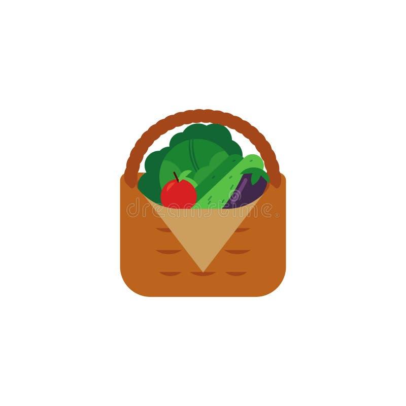 Verse rijpe groenten in rieten die mand op witte achtergrond wordt geïsoleerd stock illustratie