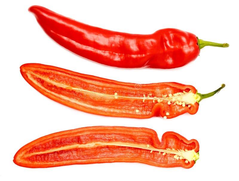 Verse rijpe smakelijke zoete rode ontlede peper royalty-vrije stock foto