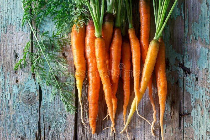 Verse rijpe wortelen met bovenkanten op een houten lijst stock afbeeldingen
