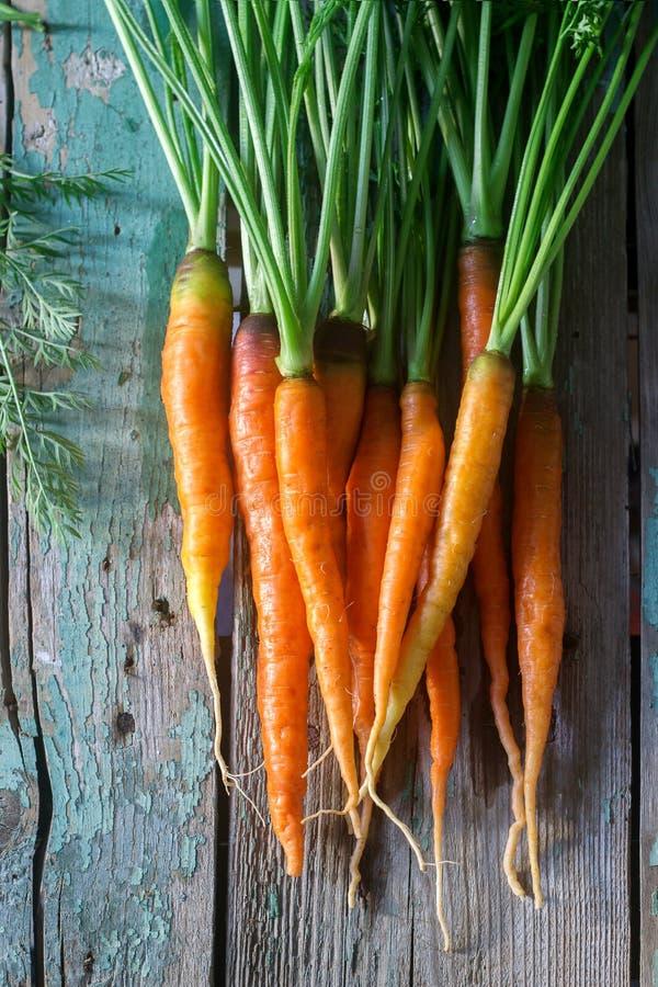 Verse rijpe wortelen met bovenkanten op een houten lijst stock foto's
