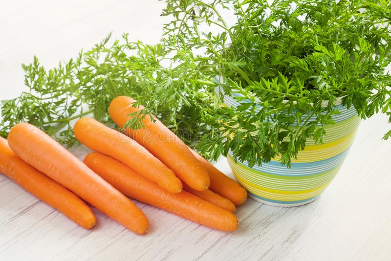 Verse rijpe wortelwortelgewassen met bladeren op houten witte lijst stock foto