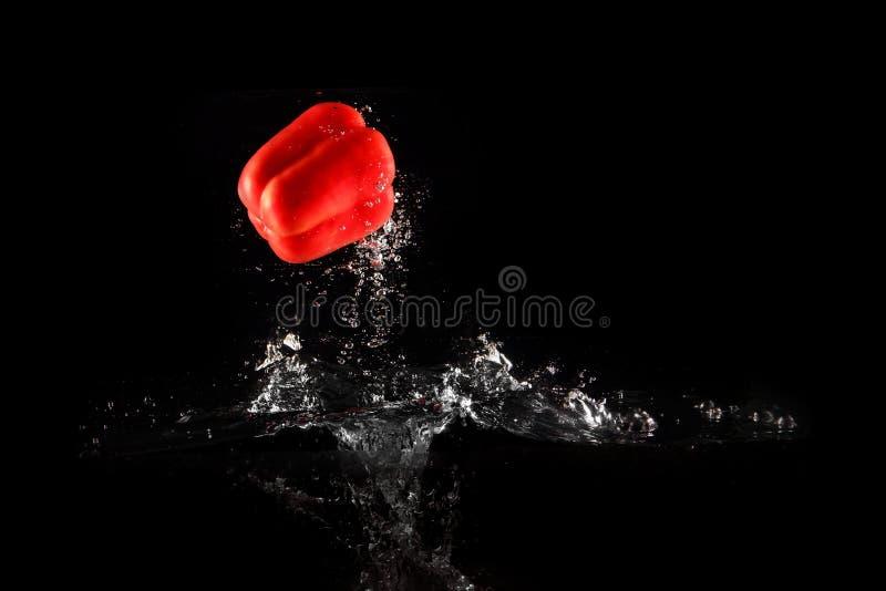 Verse Rode Groene paprika met Waterplons en Geïsoleerde Bel De Ruimte van het peperexemplaar Sappige Rode Paprika Dropped Falling stock afbeeldingen