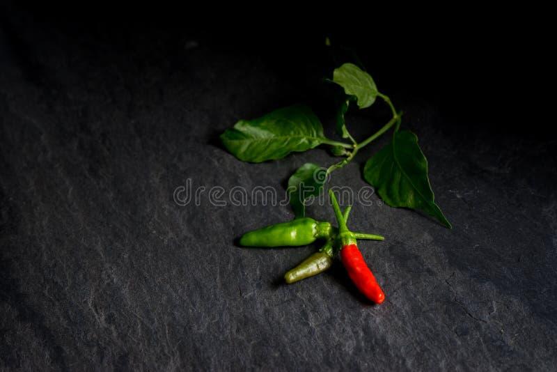 Verse rode Spaanse peper en groene Spaanse peper op steenachtergrond stock foto's