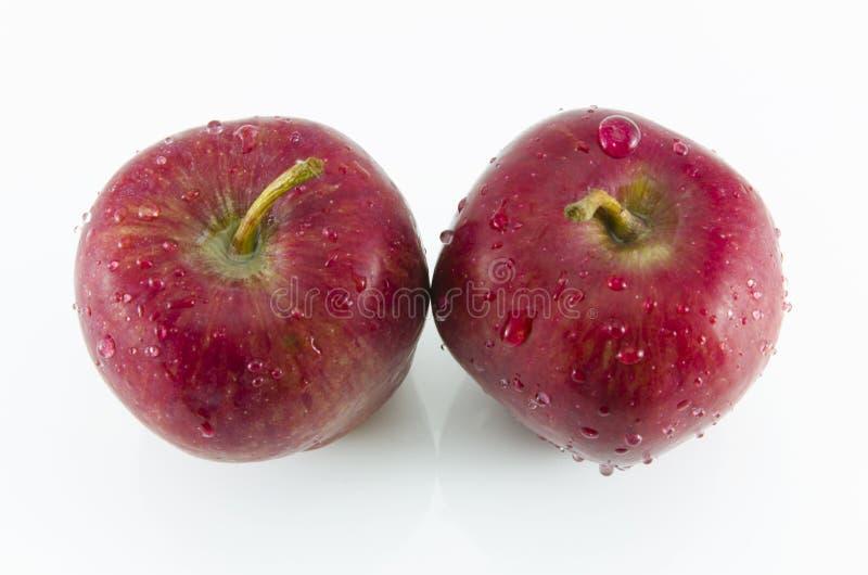 Verse rode twee die appelen op witte achtergrond worden geïsoleerd stock afbeeldingen