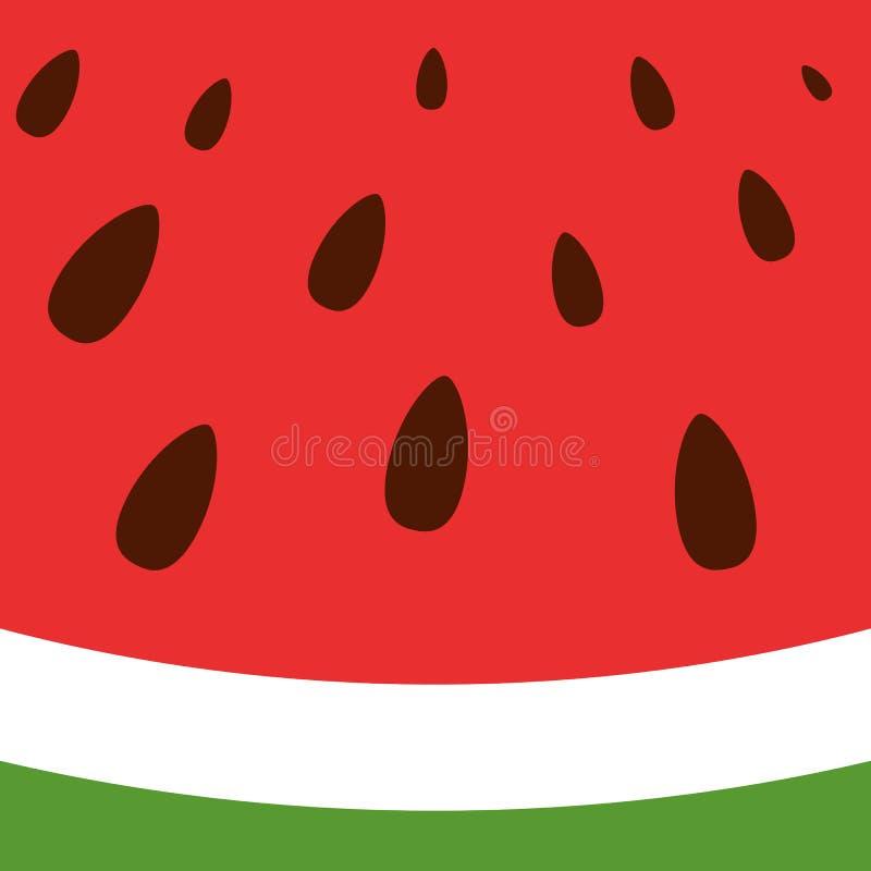 Verse rode watermeloen met zwarte zaden Zoet watermeloenpatroon Tropische achtergrond Vector illustratie vector illustratie