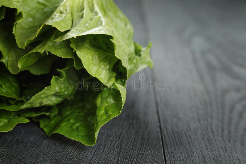 Verse romain groene salade op houten lijst royalty-vrije stock afbeeldingen