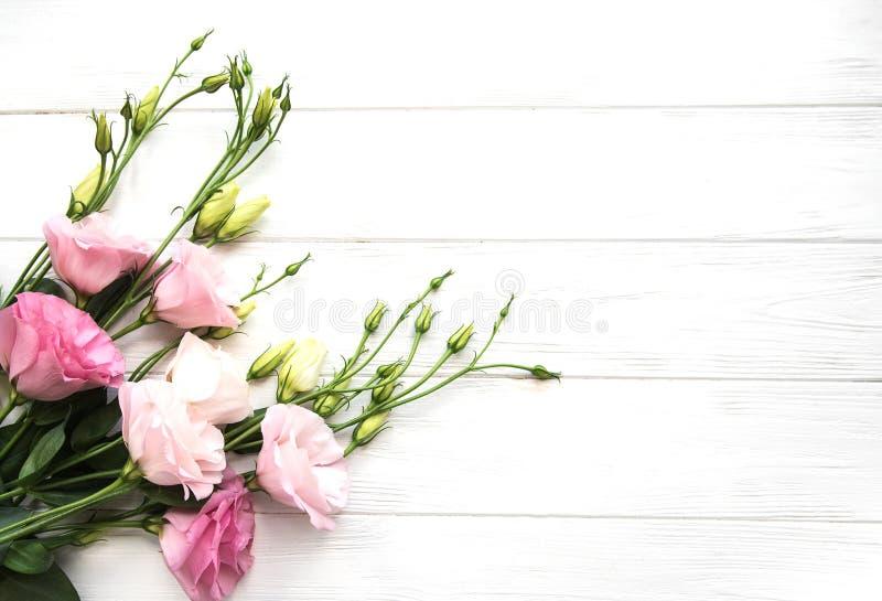 Verse roze eustomabloemen stock foto