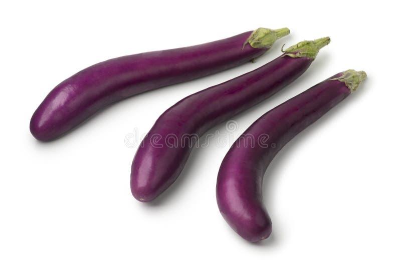 Verse ruwe purpere aubergines royalty-vrije stock foto's