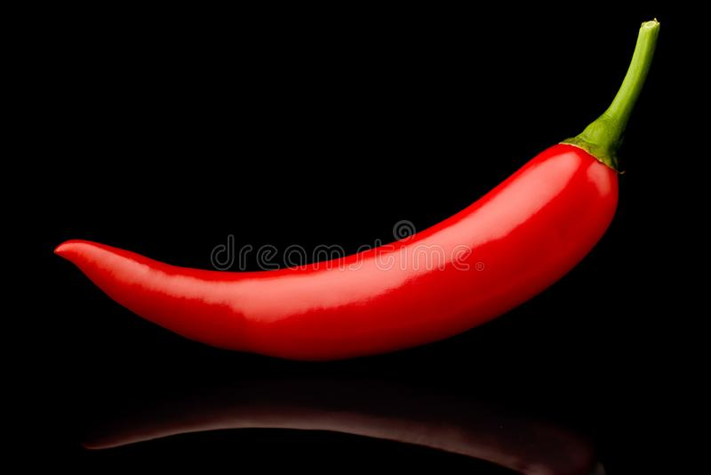 Verse ruwe roodgloeiende Spaanse peperspeper op zwarte achtergrond royalty-vrije stock afbeelding