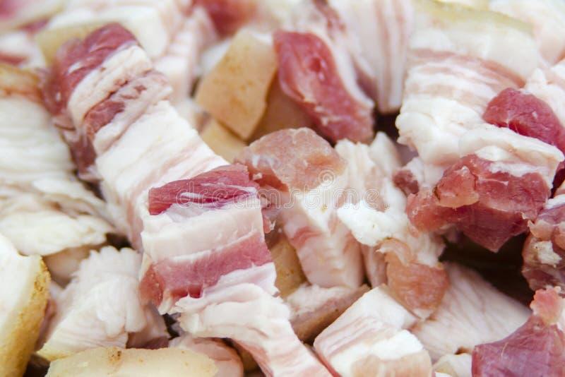 Verse ruwe van het de plakvarkensvlees van de baconbuik van het het vleesvarken koude het voedselachtergrond royalty-vrije stock fotografie