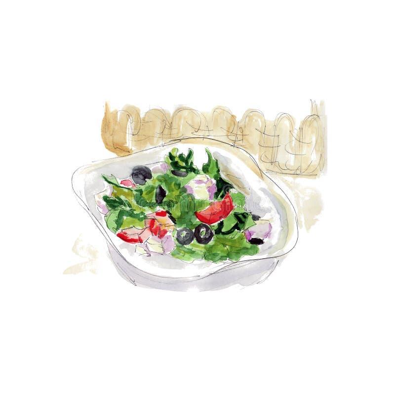 Verse salade met kaas, olijven en groenten, waterverfschets van smakelijk voedsel vector illustratie