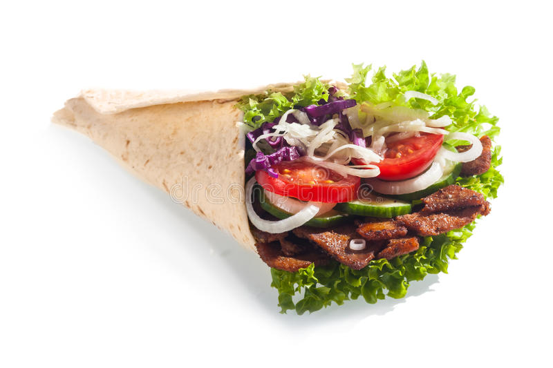 Verse saladetaco of tortillaomslag of doner royalty-vrije stock afbeeldingen