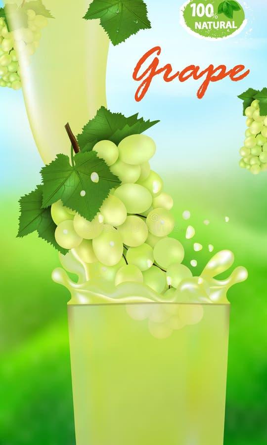 Verse sapdruif en plons Stroom van vloeistof met dalingen en zoete tropische fruit 3d realistische vectorillustratie op vector illustratie