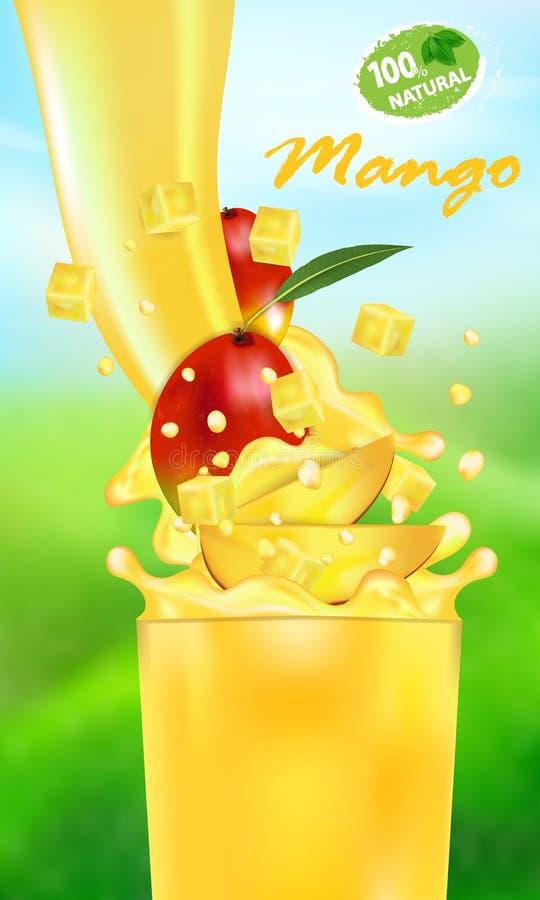 Verse sapmango en plons Stroom van vloeistof met dalingen en zoete tropische fruit 3d realistische vectorillustratie op royalty-vrije illustratie