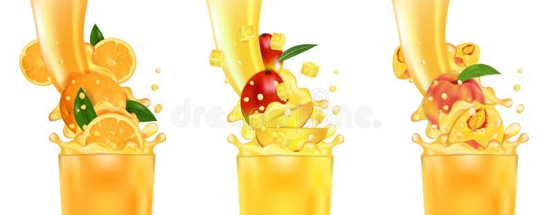 Verse sapmango, Sinaasappel, Perzik en plons Stroom van vloeistof met dalingen en zoete tropische fruit 3d realistische vectorill vector illustratie