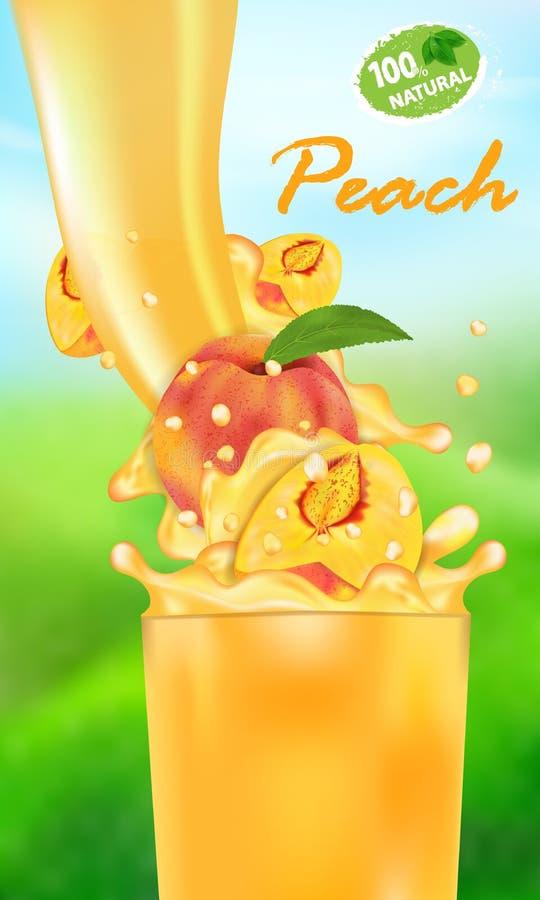 Verse sapperzik en plons Stroom van vloeistof met dalingen en zoete tropische fruit 3d realistische vectorillustratie op royalty-vrije illustratie