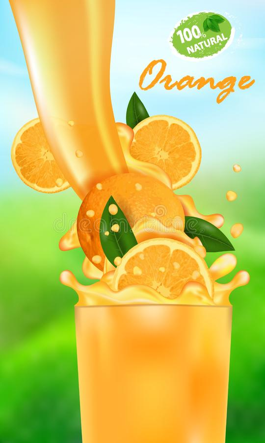Verse sapsinaasappel en plons Stroom van vloeistof met dalingen en zoete tropische fruit 3d realistische vectorillustratie op royalty-vrije illustratie