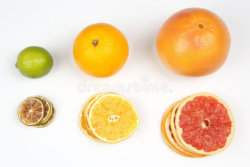 Verse sinaasappel, citroen en grapefruit en stukken van gedroogd fruit op witte achtergrond stock afbeeldingen
