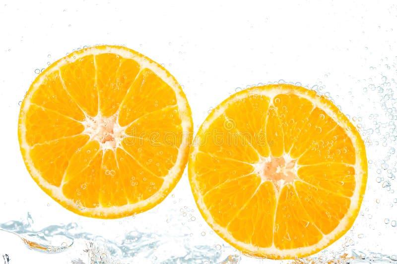 Verse sinaasappel met bellen royalty-vrije stock foto