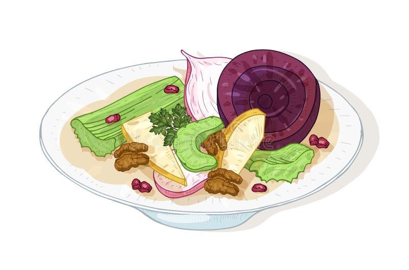 Verse smakelijke die salade met groenten en noten op plaat op witte achtergrond wordt geïsoleerd Heerlijke dieetdiemaaltijd wordt royalty-vrije illustratie