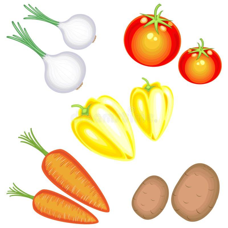 Verse smakelijke groenten In de inzameling van aardappels, wortelen, uien, peper, tomaten Een rijkelijke oogstvector royalty-vrije illustratie