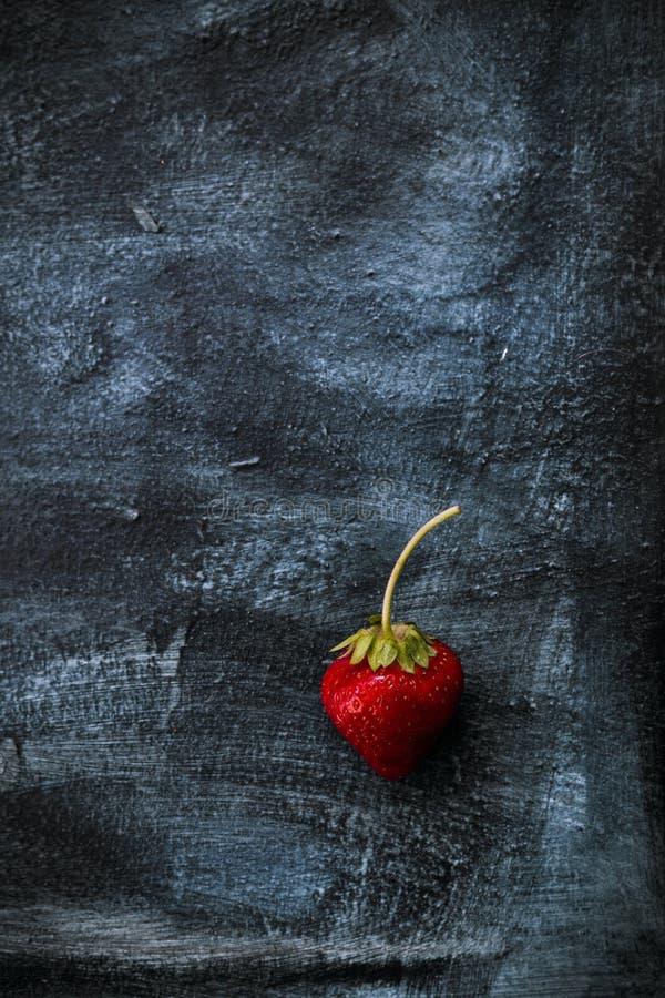 Verse strawberrie op donkerblauwe en zwarte achtergrond stock afbeelding