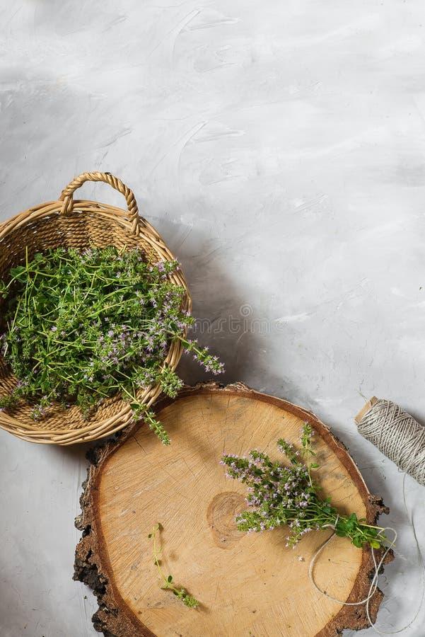 Verse thyme met geurige verzamelde bloemen op een grijze achtergrond In een rieten mand Ruimte voor tekst stock afbeelding