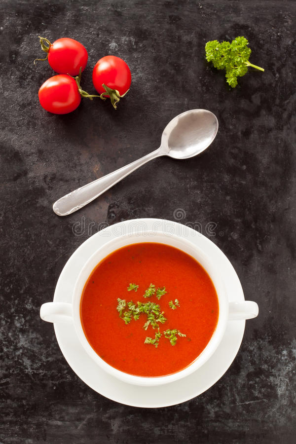 Verse tomatensoep stock afbeelding