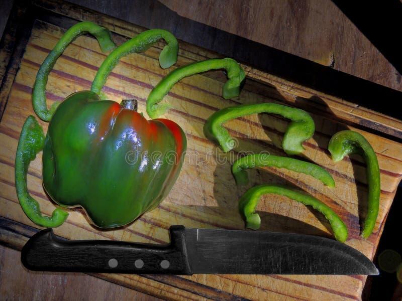 Verse uien en paprika stock foto