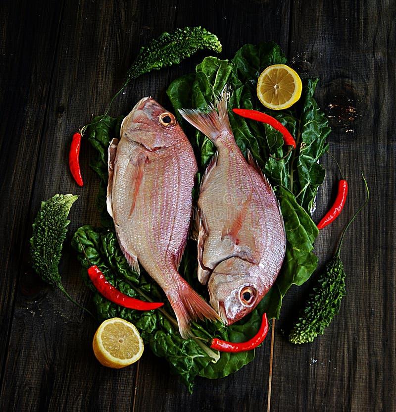 Verse vissen met groenten stock foto