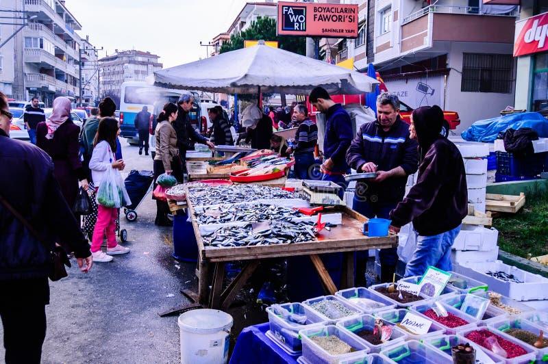 Verse Vissenverkopers stock afbeeldingen