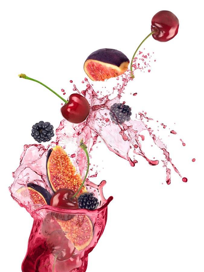 Verse vruchten, bessen die, vruchten plons vallen, stock foto