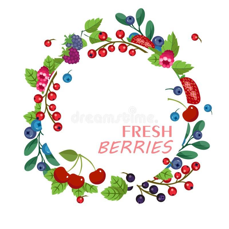 Verse vruchten en bessen Vectorfruitbanner Zoet bos en stock illustratie