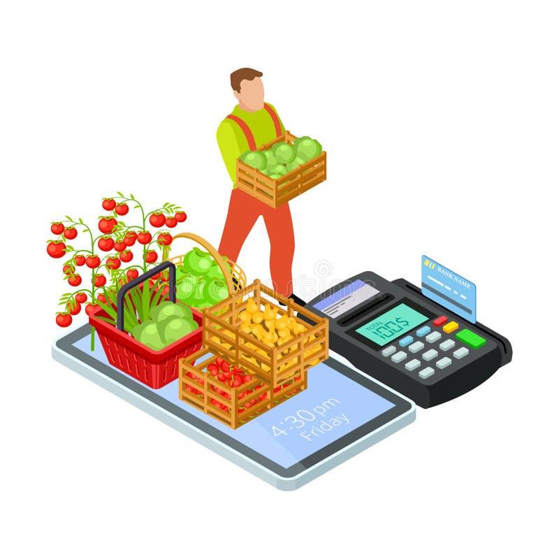 Verse vruchten en greens online markt met vrij leverings vector isometrisch concept royalty-vrije illustratie