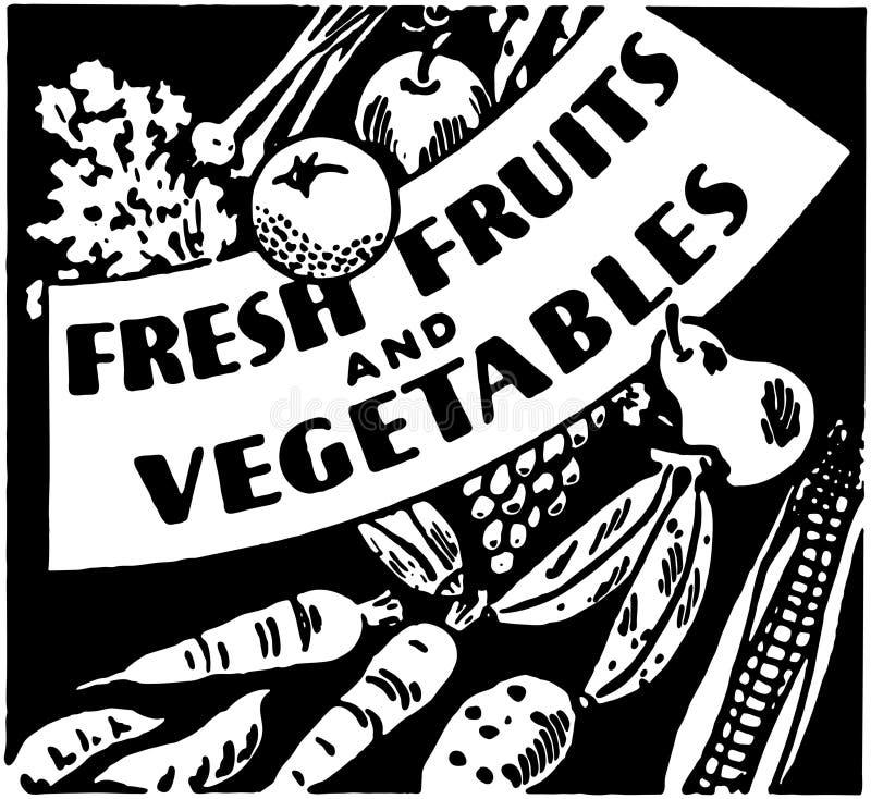 Verse vruchten en groenten stock illustratie