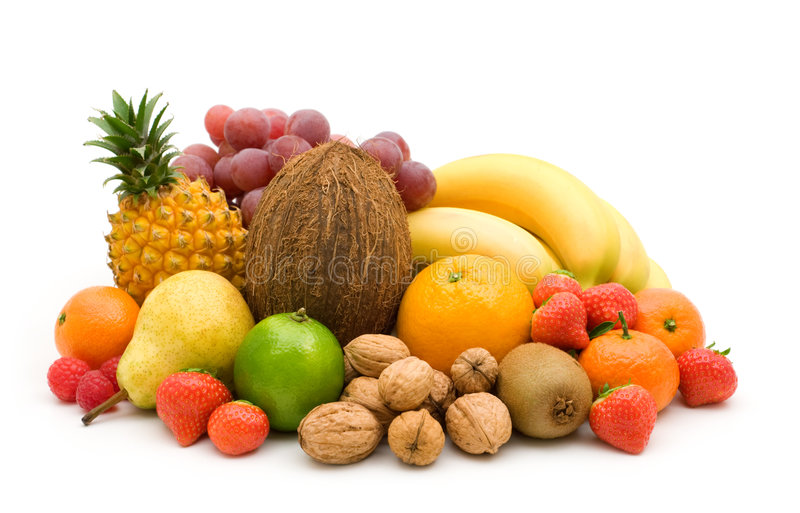 Verse vruchten en noten stock afbeeldingen