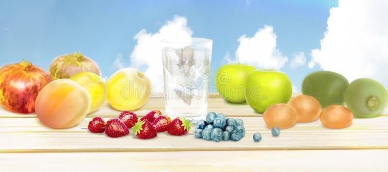 Verse vruchten en zuiver water Gemengde vruchten achtergrond Gezond eet royalty-vrije stock afbeeldingen