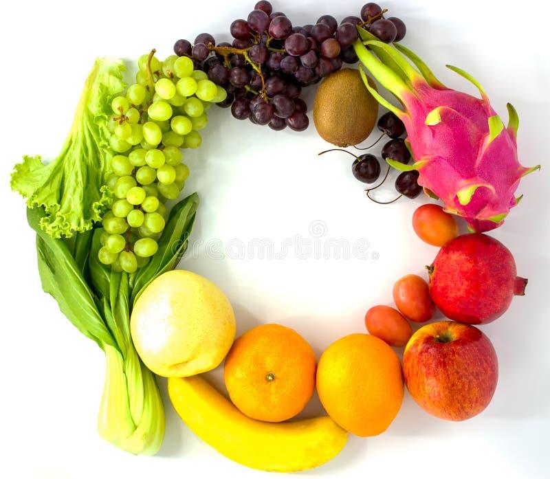 Verse Vruchten Het geassorteerde vruchten kleurrijke, schone eten, Exemplaarruimte stock foto's