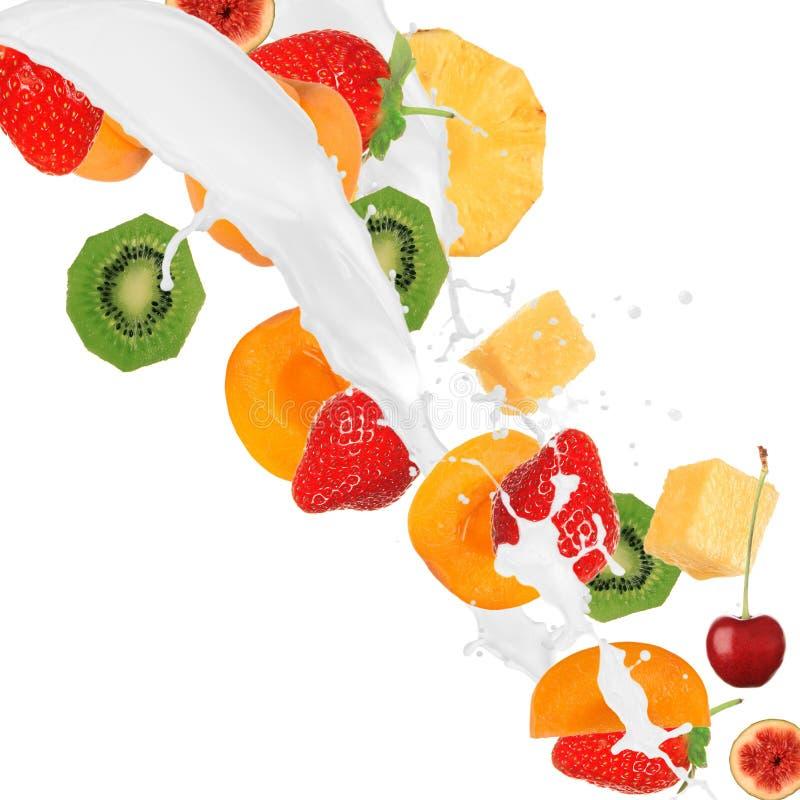 Verse vruchten in melkplons stock afbeelding