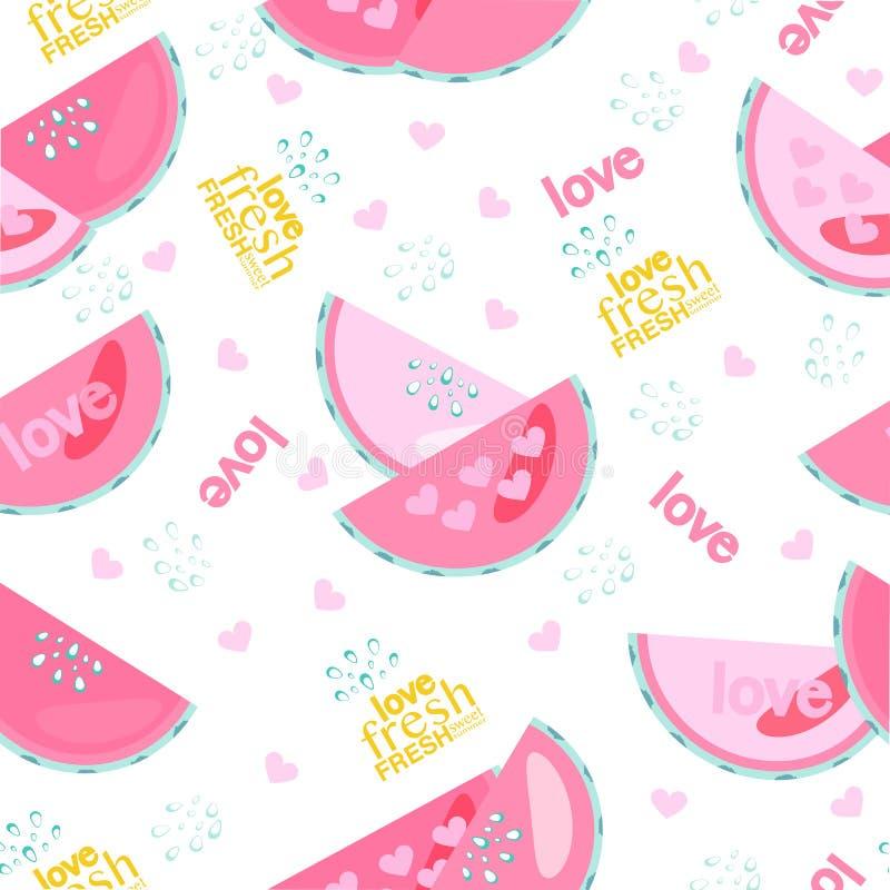 Verse watermeloen met dalingen en tekst naadloos patroon vector illustratie