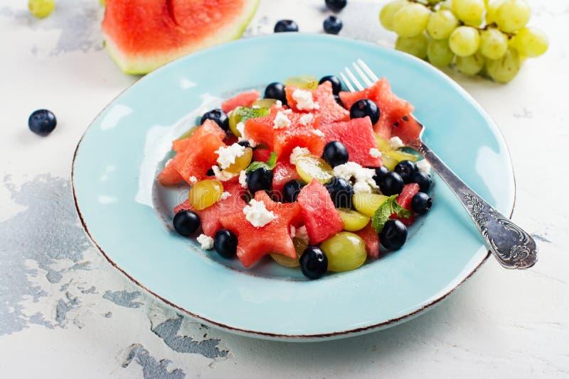 Verse watermeloensalade met feta royalty-vrije stock fotografie
