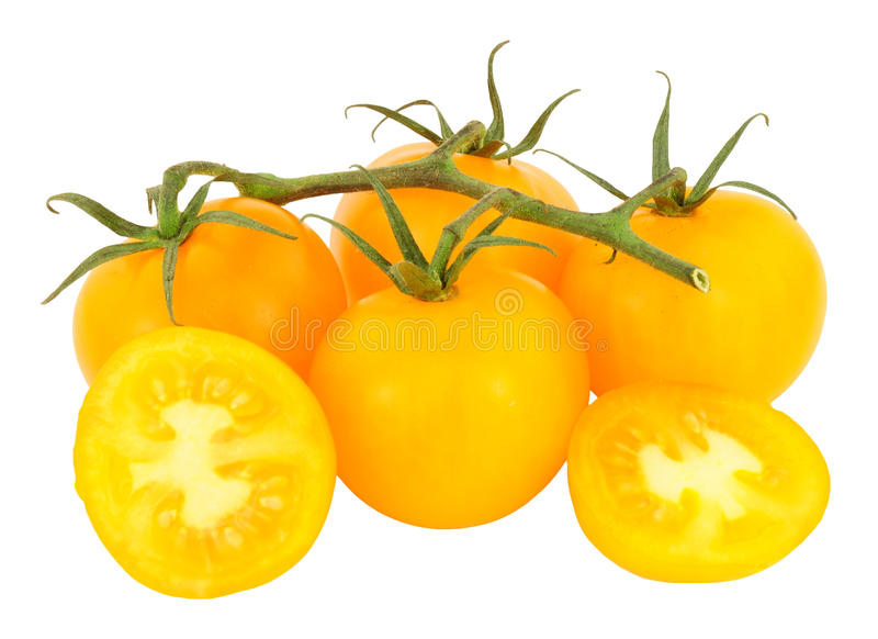 Verse Wijnstok Gerijpte Amber Tomatoes royalty-vrije stock foto