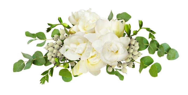 Verse witte fresiabloemen en eucalyptusbladeren in regeling stock afbeeldingen