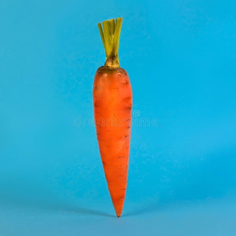 Verse wortel met besnoeiingsbladeren op blauwe achtergrond royalty-vrije stock foto