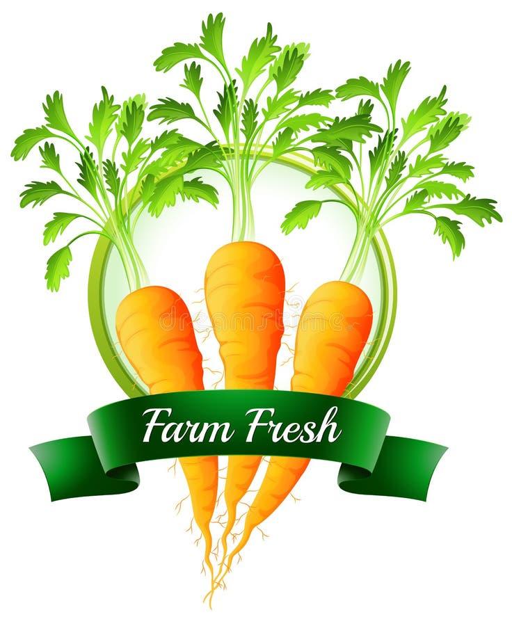 Verse wortelen met een landbouwbedrijf vers etiket vector illustratie